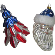 Pair of Patriotic Glass Christmas Ornaments Made in Poland