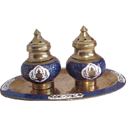 Enamel on Brass Salt & Pepper Shaker Set on Tray from Siam