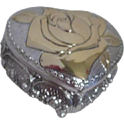 Heart Shaped Silvertone Footed Box with Goldtone Rose on Lid Music Box
