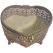 Goldtone Filigree Heart Shaped Casket Jewelry Box with Beveled Glass