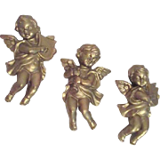 Set of 3 Golden Chalk Angels Wall Hanging