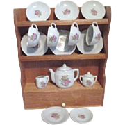 Child's Tea Set in Wooden Hutch Made in Japan Original Box Set of 4