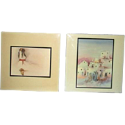 Two Tiles by Native American Artists, 1 by R.C. Gorman Woman with Red Belt