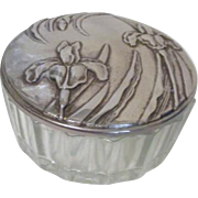 Silver Plated and Crystal Powder Jar with Mirror Under Lid Iris Decoration
