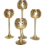 Set of 4 Brass Votive Holders with Open Work Design