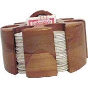 Solid Wood Poker Chip and Card Caddy with Chips Cards Cover