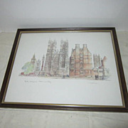 Plate Signed Print of Big Ben, St. Margarets, & Westminster Abbey by Maes Shage