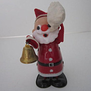 Vintage Japanese Wind up Toy Santa With Bell and Bag
