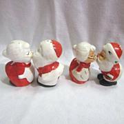 Vintage 2 Sets Hand Painted Christmas Kissing Santa & Mrs. Salt & Pepper