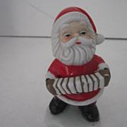 Vintage Ceramic Hand Painted Santa Playing a Concertina