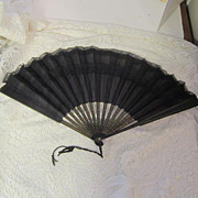 SOLD Antique Victorian Mourning Fan