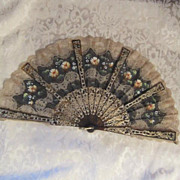 SALE Vintage Spanish Lace & Fabric Hand Painted Fan with Faux Tortoise Shell