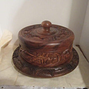Carved Wooden Cake Serving Platter & Cover