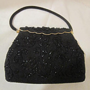 SALE Vintage Beaded Black Purse/Evening Bag