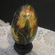 Vintage Hand Painted Wooden Egg with Iris Designs and Stand