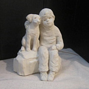 """Vintage Clay Seated Boy with Dog """"Bright Eyes"""" by Austin"""