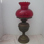 SALE Antique Kerosene Oil Lamp with Ruby Red Glass Shade Double Wick Design