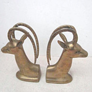 Vintage Pair of Brass Antelope Head Bookends