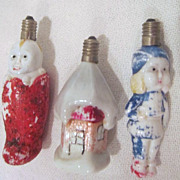 Vintage Set of 3 Milk Glass Christmas Tree Lights c1950's