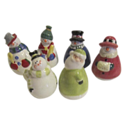 3 Sets of Christmas Small Snow People S & P Shakers