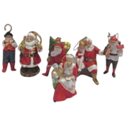 Set of 6 Porcelain Christmas Figurine Ornaments @1989