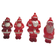 Set of 4 Hard Plastic Santa from the 1950's