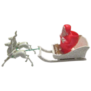 Hard Plastic Santa with Flocked Sleigh and Two Plastic Reindeer