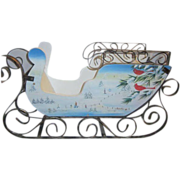 Hand Painted Wood and Metal Sleigh with Winter Scenes Decorating Sides