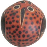 Hand Painted Peru Claver Gourd Owl