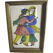 Framed Persian Tile Painting of Young Couple