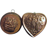 Pair of Copper Exterior Molds Fruit Basket and Couple in Heart