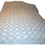 "Hand Crocheted 60"" x 76"" Ecru Colored Tablecloth"