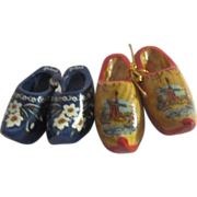 Two Pair of Small Painted Wooden Dutch Shoes from Holland