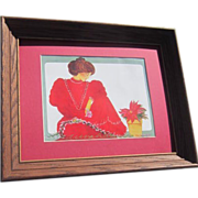 Framed Diana Hansen-Young Print of Hawaiian Woman in Red