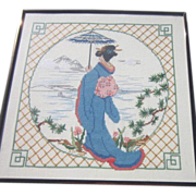 Framed Needlepoint and Embroidery Lady in Kimono