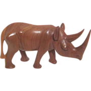 Wood Carved African Rhino