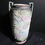 SALE Vintage Ceramic Japanese Slip Work Dragon Vase