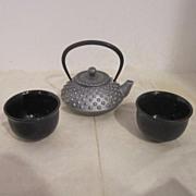 Vintage Japanese Tea Set By Roji- Iron Tea Pot Ceramic Cups