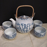 Vintage Japanese Tea Set in Blue and White