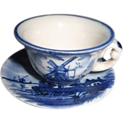 Miniature Delft Blue & White Tea Cup and Saucer