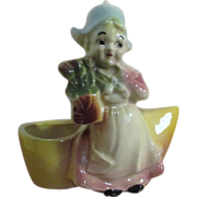 Ceramic Dutch Girl with Tulips and Shoe Planter