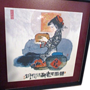 SALE Chinese Ceramic Tile Young woman Holding Pig