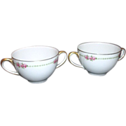 Pair of B&Co Double handled Soup Cups from France