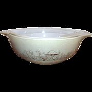 Set of Three Nesting Pyrex Cinderella Style Mixing Bowls with Mushroom Design 1960's
