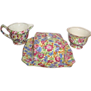 SALE Chintz Set of Covered Butter Dish Cream and Sugar