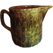 Spongeware Pitcher in Yellow Brown Green