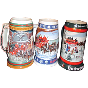 SALE Three Budweiser Christmas Steins