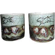 Set of Two Celadon Tea Cups with Gold Horse and Two Layered Cutout Porcelain