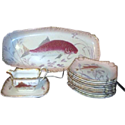 Antique Royal Bonn Hand Painted Fish Serving Set Platter, 11 Plates, Sauce Boat with Underplat