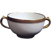 Double Handled Soup Bowl White with Gold Embossed Trim by Gerald Dufraiss & Abbot Limoges